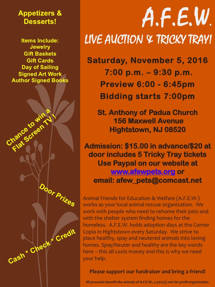 >A.F.E.W. Live Auction & Tricky Tray
